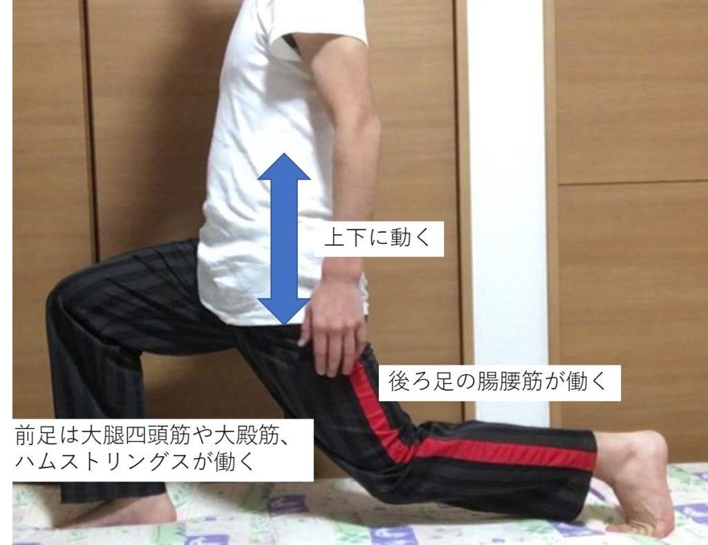 腸腰筋の筋トレであるフロントランジ