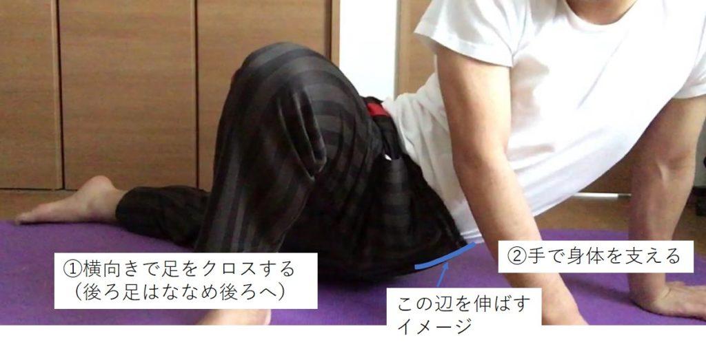 大腿筋膜張筋のストレッチ(床)
